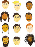 Assorted Male Faces Stock Image