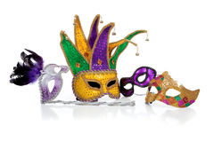 Assorted mardi gra masks on white Royalty Free Stock Photos