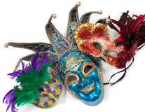 Assorted Mardi gras masks on a white background Royalty Free Stock Images