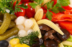 Assorted marinated vegetables and mushrooms. Close up Stock Photo