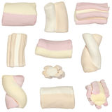 Assorted marshmallows. Isolated images of assorted colorful marshmallows Royalty Free Stock Photo