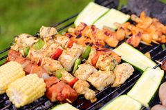 Assorted meat on bbq grill Stock Image