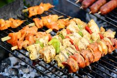 Assorted meat on bbq grill Royalty Free Stock Image