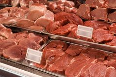 Assorted meat at a butcher shop Stock Photos