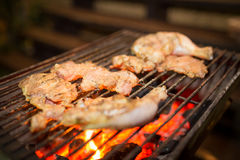 Assorted  meat from chicken and pork on barbecue grill cooked for Stock Images