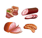 Assorted meat. Cold appetizer. Cutting meat. Meat roll with greens. Vector. Royalty Free Stock Photo