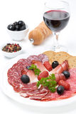 Assorted meat delicacies on a plate, pepper, olives and wine Royalty Free Stock Photos