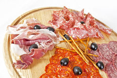 Assorted meat delicatessen Royalty Free Stock Images