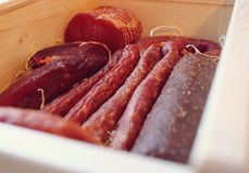 Assorted meat products including ham and sausages. Stock Photography
