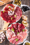 Assorted meat and salami Stock Photography