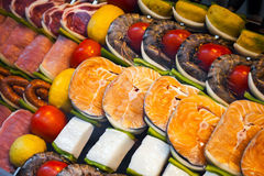 Assorted meat seafood and fish Royalty Free Stock Photo