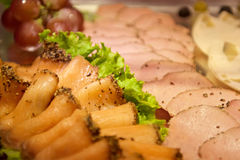 Assorted meat slices. In buffet restaurant Stock Images