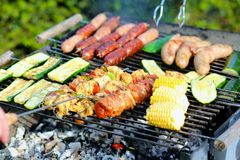 Assorted meat and vegetables on barbecue gril Royalty Free Stock Photos