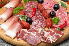Assorted meats and sausages, olives and spices, close-up Stock Photography