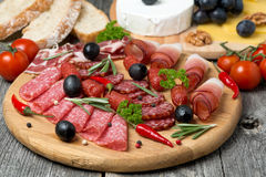 Assorted meats and sausages on a wooden board Royalty Free Stock Photos