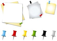 Assorted Memo Paper Thumbtacks Royalty Free Stock Images