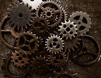 Assorted metal grunge gears Royalty Free Stock Photography