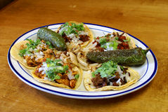 Assorted Mexican Soft Tacos. Authentic, traditional platter with assorted soft tacos with chorizo, carne asada, carne adobada, grilled chicken, chipotle chicken Stock Photo