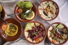 Assorted middle east mezze royalty free stock images