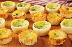 Assorted mini quiche Stock Photo