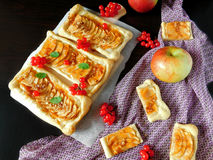 Assorted mini-tarts. Mini-tarts made of puff pastry with assorted fillings royalty free stock photography