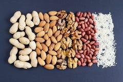 Assorted mischte Nüsse, Erdnüsse, Mandeln, Walnüsse und Samen des indischen Sesams Lizenzfreie Stockfotografie