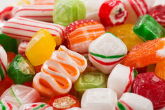 Assorted mix of colorful, hard, old time Christmas candy Stock Photos