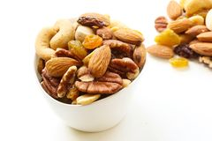 Assorted mix of dry fruites and Nuts close up view Royalty Free Stock Photo