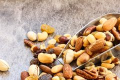Assorted mix of dry fruites and Nuts close up view Royalty Free Stock Images
