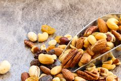 Assorted mix of dry fruites and Nuts close up view Stock Photo