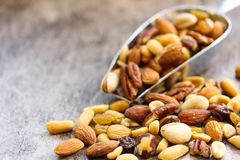 Assorted mix of dry fruites and Nuts close up view Stock Photos