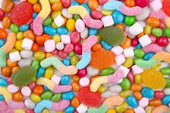 Assorted mix of various candies and jellies stock photography