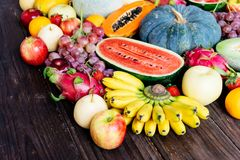 Assorted and mixed fruits Royalty Free Stock Photography