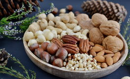 Assorted Mixed Nuts Black Background Healthy Concept Royalty Free Stock Photography