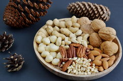 Assorted Mixed Nuts Black Background Healthy Concept Stock Photo