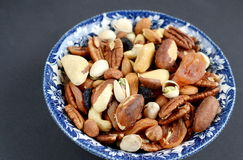 Assorted mixed nuts and dried fruit Royalty Free Stock Photos
