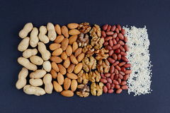 Assorted mixed nuts, peanuts, almonds, walnuts and sesame seeds. Stock Photos