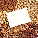 Assorted mixed nuts on white background. stock photo