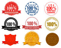 Assorted Money-Back Guarantee Seals. An illustration of a set of different style Money-Back Guarantee Seals Stock Photography