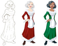 Assorted Mrs. Claus. Classy Mrs Claus with one hand on hip in three versions: Line-art, white and black. The images are on separate layers in the vector version vector illustration