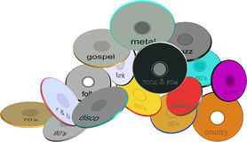 Assorted music  genre disks. Assorted compact disks of different genres in 3d and on white secluded Royalty Free Stock Image