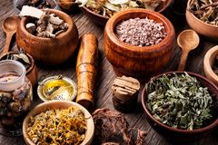 Healing herbs on wooden table. Assorted natural medical herbs.Homeopathy and alternative medicine royalty free stock images