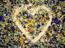 Assorted natural medical herbs with shape of heart Stock Image