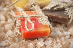 Assorted natural soaps and bath salt Royalty Free Stock Photography