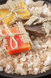 Assorted natural soaps and bath salt Stock Photography