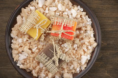 Assorted natural soaps and bath salt Stock Images