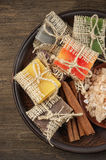 Assorted natural soaps and bath salt Stock Photos
