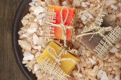 Assorted natural soaps and bath salt Royalty Free Stock Image