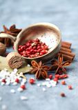 Assorted natural spices on a blue cloth royalty free stock images