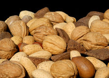 Assorted Nuts. Angled view of assorted nuts against black background Royalty Free Stock Images